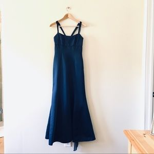 Alfred Angelo navy blue maxi dress formal gown 2